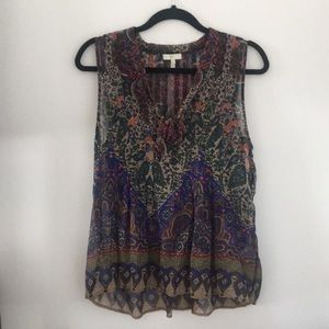 Sleeveless sheer paisley tank